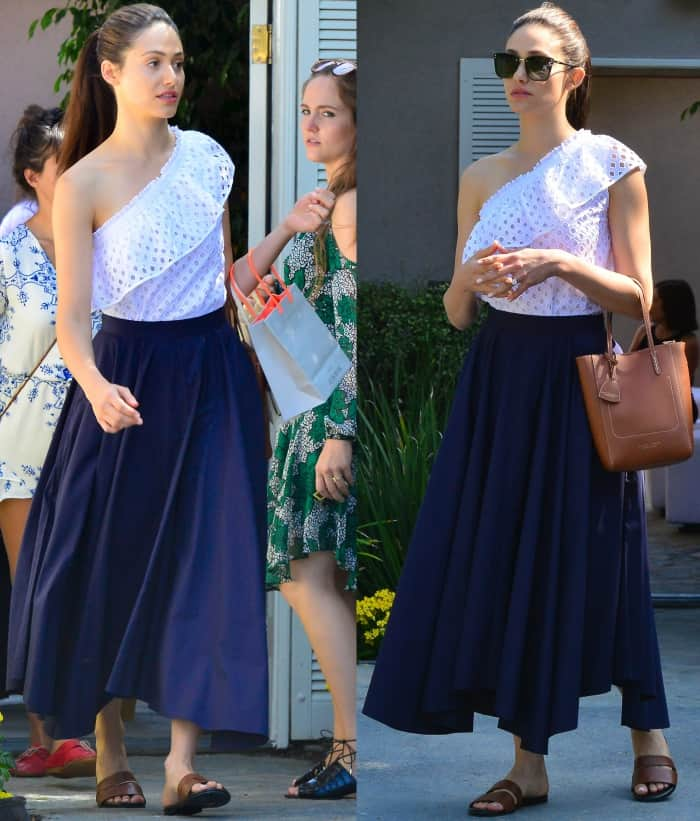 Emmy Rossum wearing a Tory Burch top, M. Martin skirt, and leather slides at Jennifer Klein's 19th Annual Day of Indulgence Party