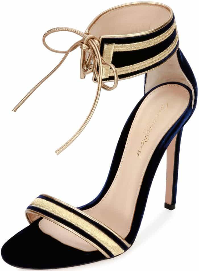"""Gianvito Rossi """"Augusta"""" velvet ankle-wrap sandals"""