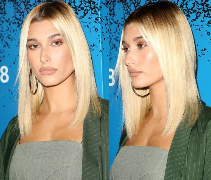"""Hailey Baldwin wearing a Baja East Spring 2017 ensemble at Apple Music's """"Carpool Karaoke: The Series"""" launch party at Chateau Marmont"""