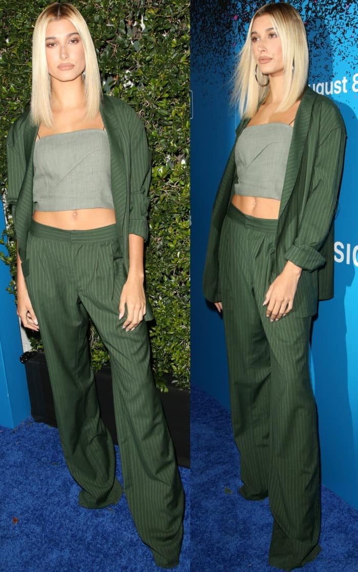 """Hailey Baldwin wearing a Baja East Spring 2017 ensemble and Jimmy Choo heels at Apple Music's """"Carpool Karaoke: The Series"""" launch party at Chateau Marmont"""