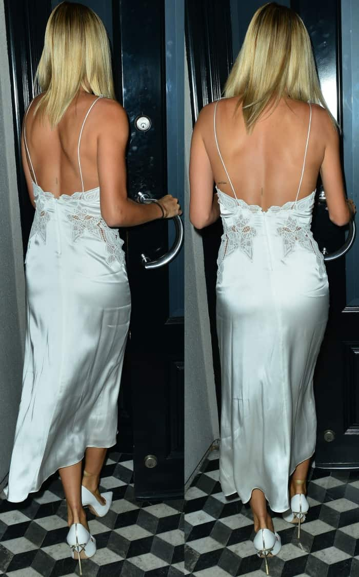 """Hailey Baldwin wearing a Jonathan Simkhai slip dress and Casadei """"Blade"""" heels with bow detail while out for dinner at Craig's restaurant in LA"""