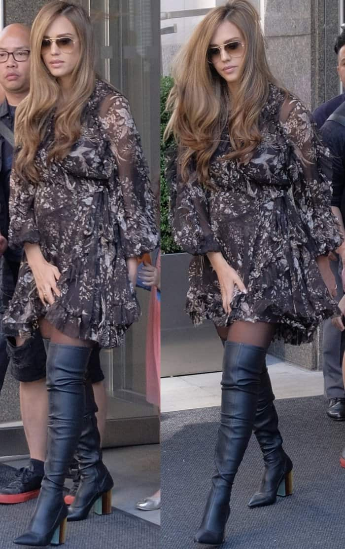 """Jessica Alba wearing the """"Maples"""" wrap dress and stretch thigh boots from Zimmermann while out and about in NYC"""