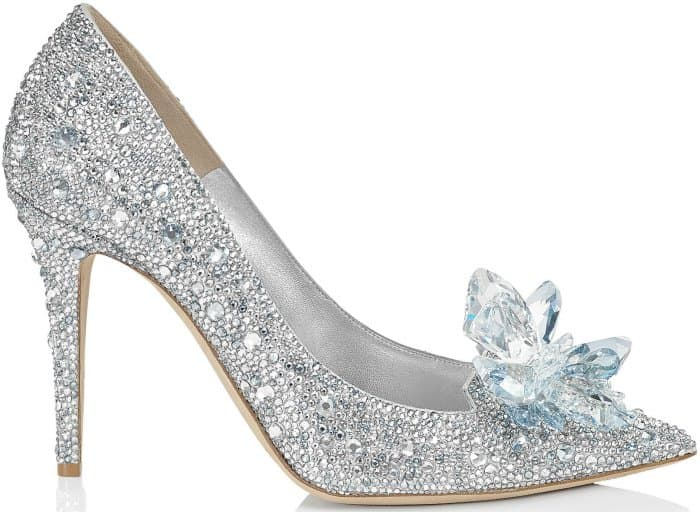 "Jimmy Choo ""Alia"" crystal-covered pointy-toe pumps in silver"
