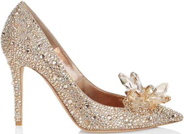 "Jimmy Choo ""Alia"" crystal-covered pointy-toe pumps in golden mix"
