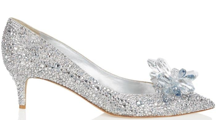 "Jimmy Choo ""Allure"" crystal-covered pointy-toe pumps in silver"