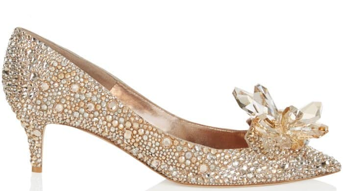 "Jimmy Choo ""Allure"" crystal-covered pointy-toe pumps in golden mix"