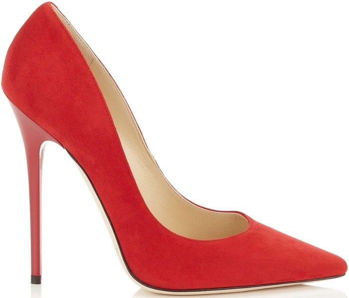 """Jimmy Choo """"Anouk"""" pointy-toe pumps in red suede"""