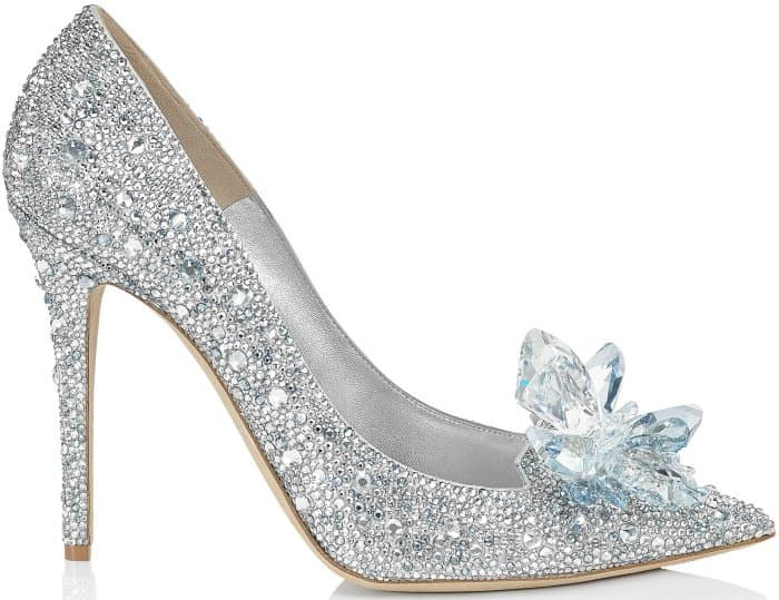 "Jimmy Choo ""Ari"" crystal-covered pointy-toe pumps in silver"