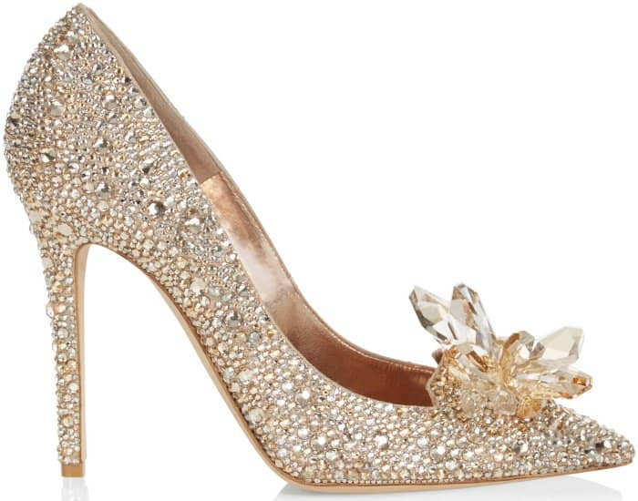 "Jimmy Choo ""Ari"" crystal-covered pointy-toe pumps in golden mix"