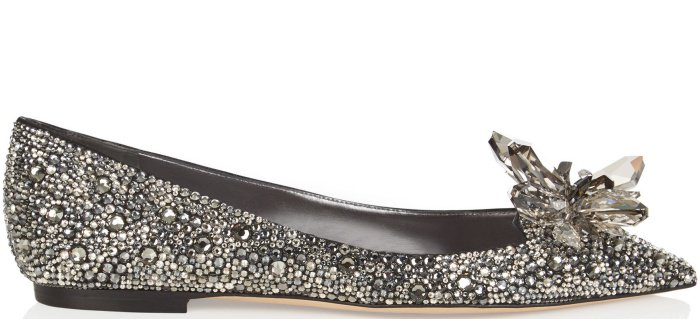 "Jimmy Choo ""Attila"" crystal-covered pointy-toe flats in black"