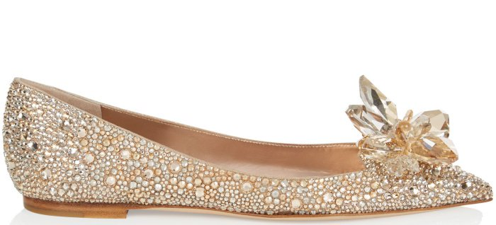 "Jimmy Choo ""Attila"" crystal-covered pointy-toe flats in golden mix"