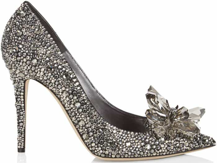 """Jimmy Choo """"Avril"""" crystal-covered pointy-toe pumps in black"""