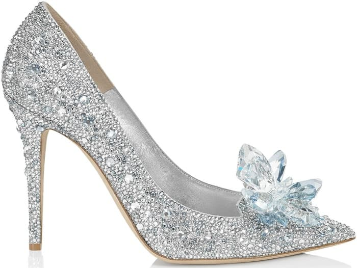 "Jimmy Choo ""Avril"" crystal-covered pointy-toe pumps in silver"