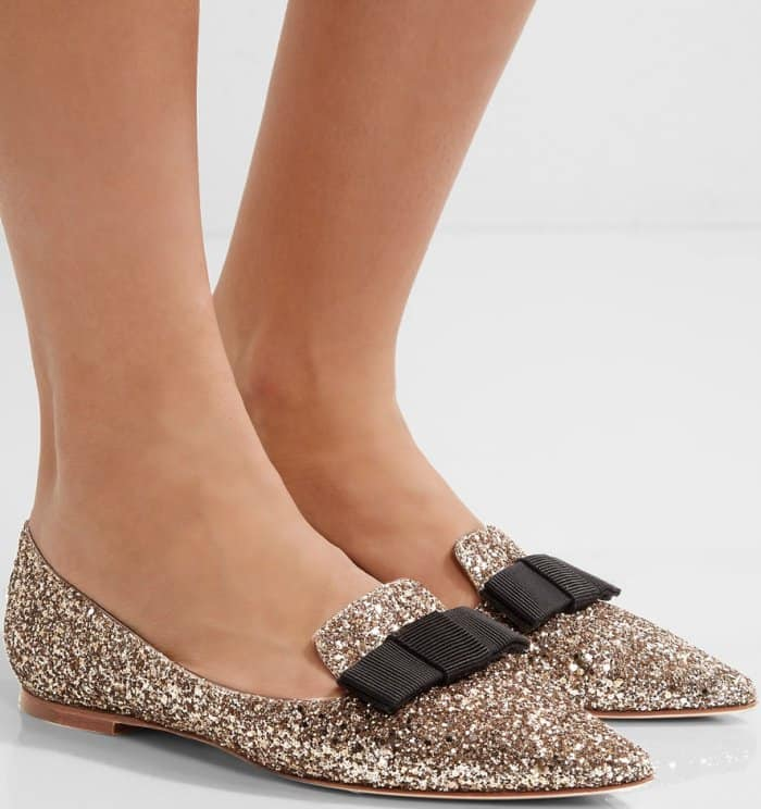 "Jimmy Choo ""Gala"" flats in gold glittered leather"