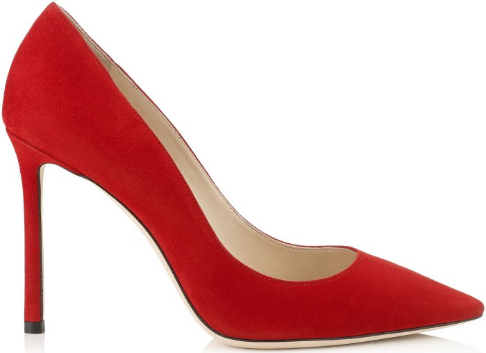 """Jimmy Choo """"Romy"""" pointy-toe pumps in red suede"""