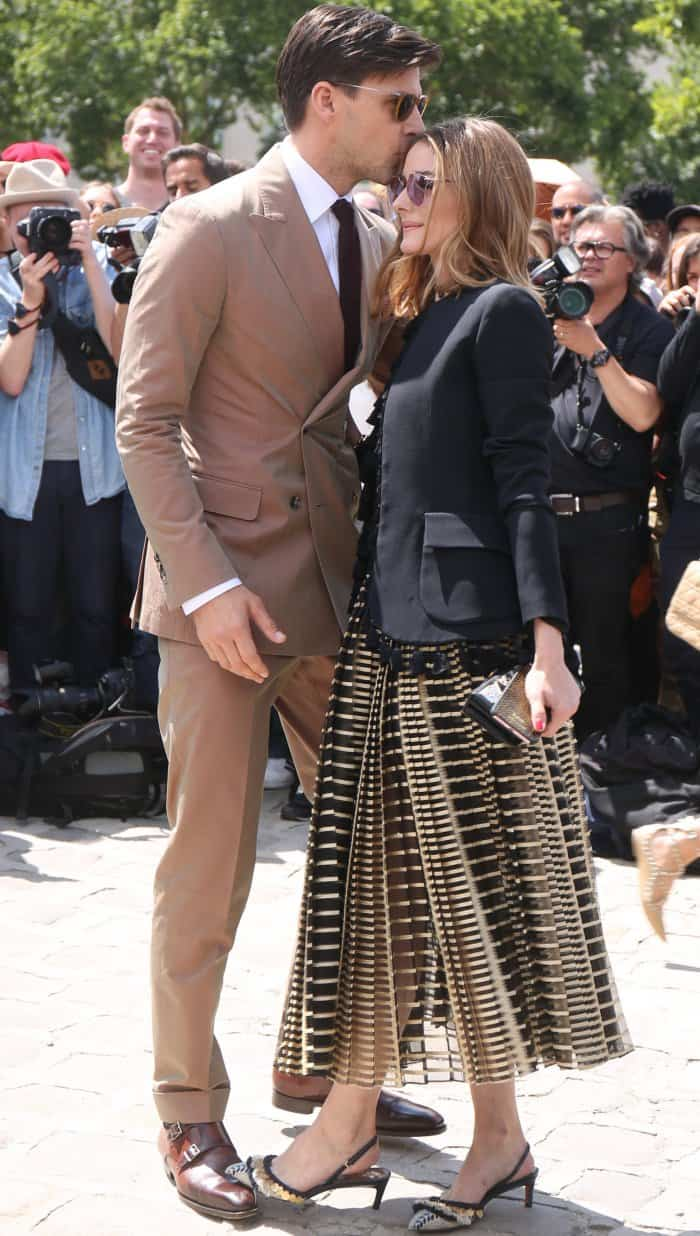 Olivia Palermo with husband Johannes Huebl at the Christian Dior Fall/Winter 2017 show during Paris Haute Couture Fashion Week