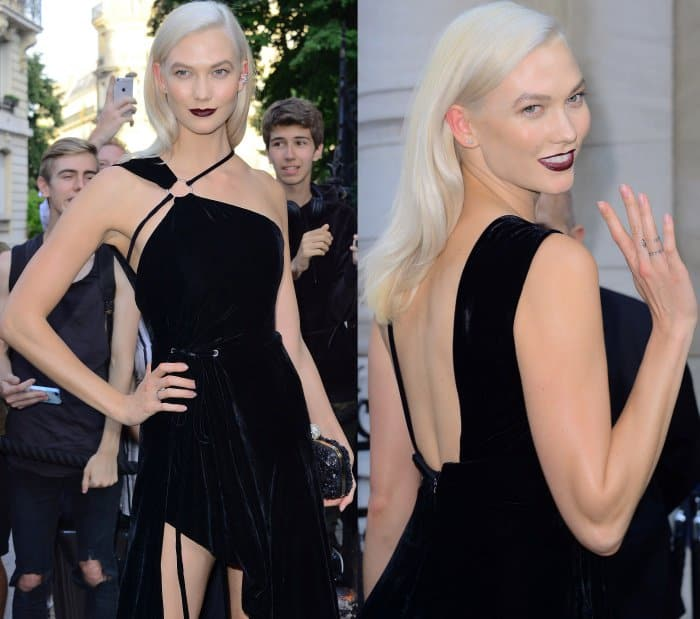 Karlie Kloss wearing a Thierry Mugler one-shoulder velvet high-low gown at the Vogue Paris Foundation dinner