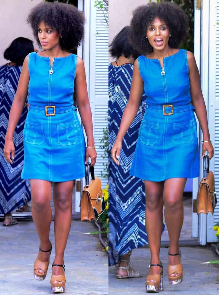 Kerry Washington wearing a Tory Burch dress and Prada platform sandals at Jennifer Klein's 19th Annual Day of Indulgence Party