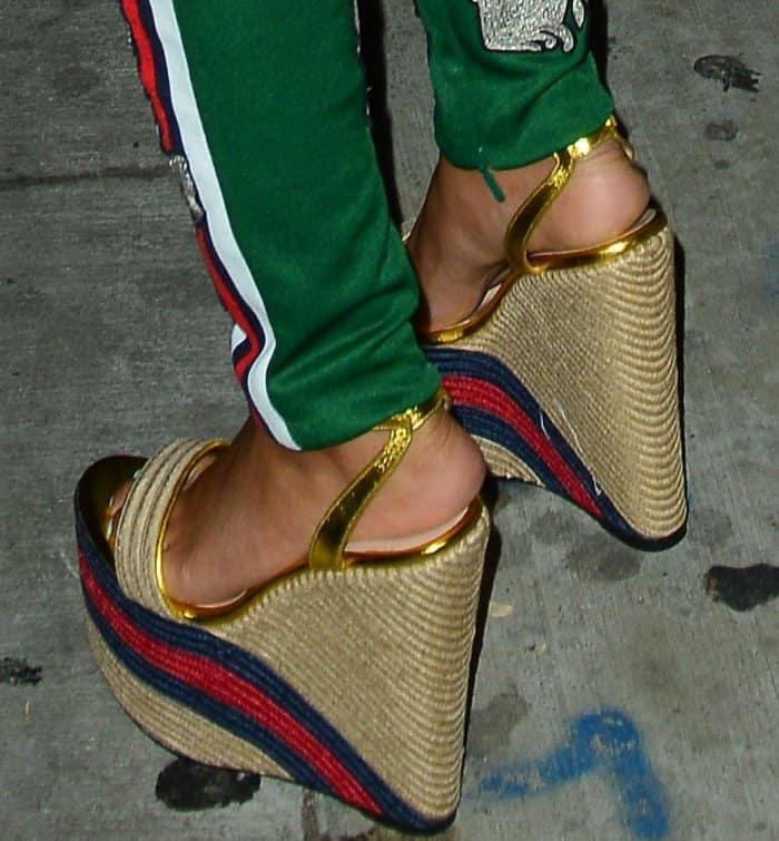 Leigh-Anne Pinnock wearing Gucci metallic leather platform espadrilles