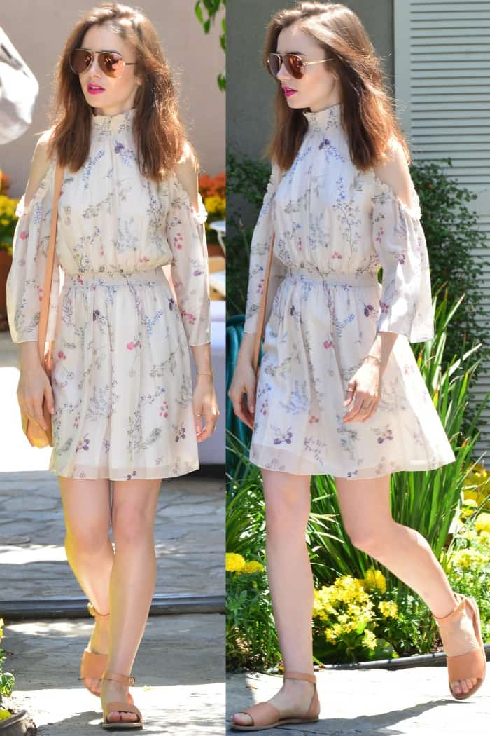 Lily Collins wearing a Rachel Zoe floral dress and ankle-strap sandals at Jennifer Klein's 19th Annual Day of Indulgence Party