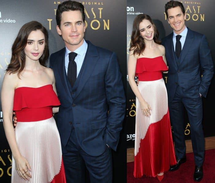 """Lily Collins in Reem Acra and Jimmy Choo with Matt Bomer in Ermenegildo Zegna Couture at """"The Last Tycoon"""" premiere"""