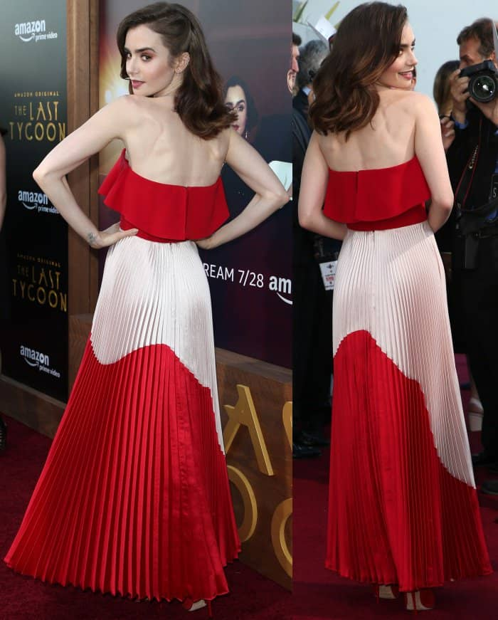 """Lily Collins wearing a Reem Acra Resort 2018 look and red Jimmy Choo pumps at """"The Last Tycoon"""" premiere"""