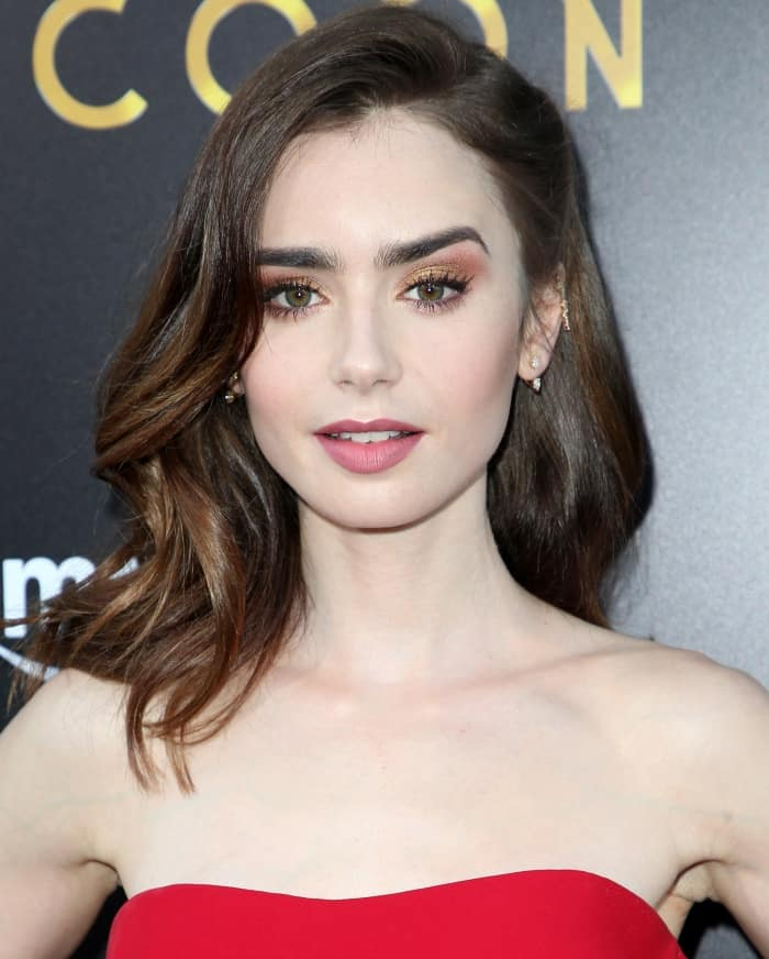 """Lily Collins channeling old Hollywood glamour in Reem Acra at the premiere of """"The Last Tycoon"""""""