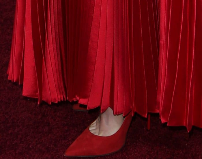 """Lily Collins wearing red suede pointy-toe pumps from Jimmy Choo at the premiere of """"The Last Tycoon"""""""