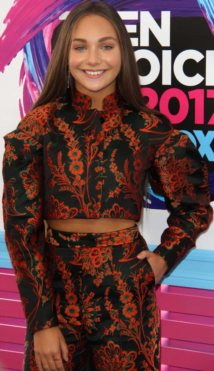 Maddie Ziegler's Zac Posen black-and-orange floral two-piece outfit