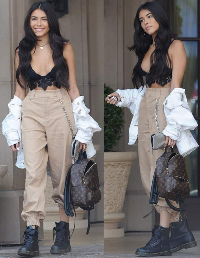 87ca987e7254 Madison Beer leaving the Montage Hotel in Beverly Hills in a racy black top  and Dr
