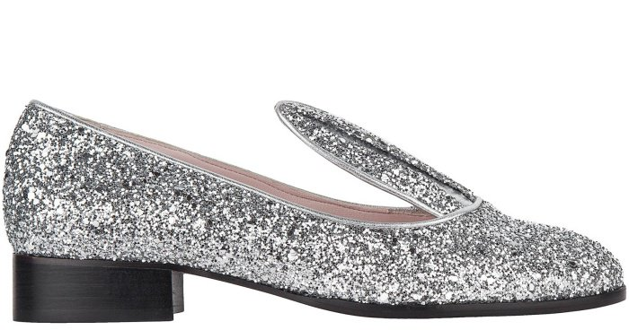 Minna Parikka bunny loafers in silver glitter