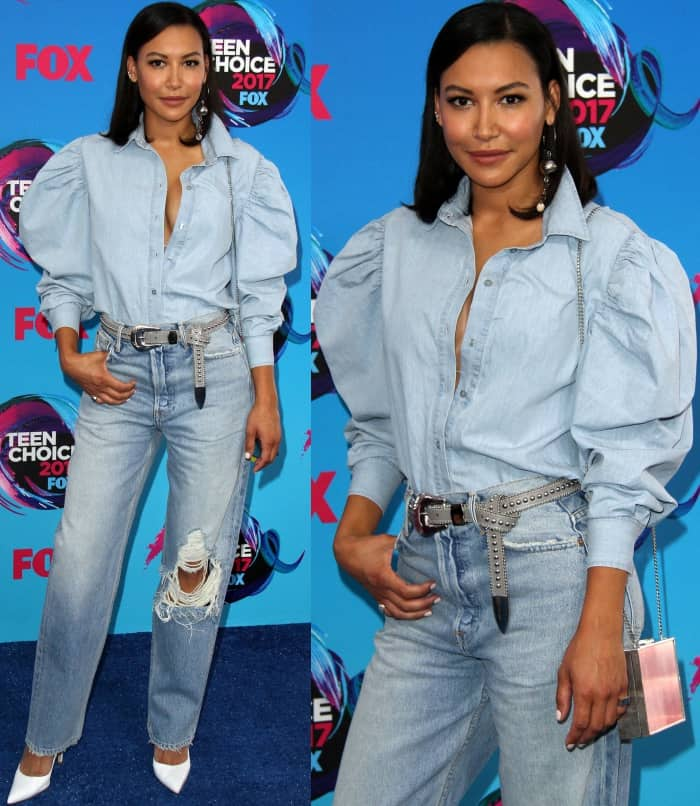 Naya River wearing a Marques' Almeida Spring 2017 button-down shirt, distressed denim jeans, and white Gianvito Rossi pumps at the 2017 Teen Choice Awards