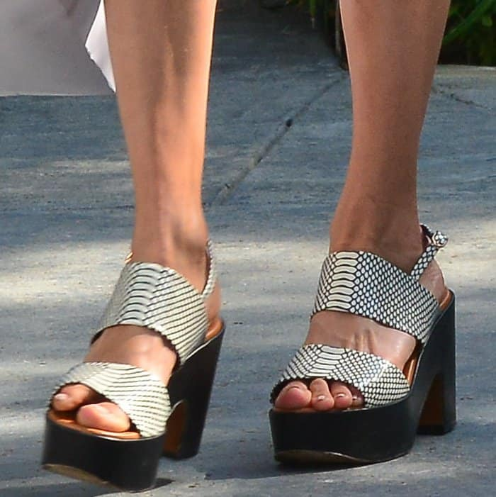 Nina Dobrev showing off her feet in Robert Clergerie Emple platform clogs