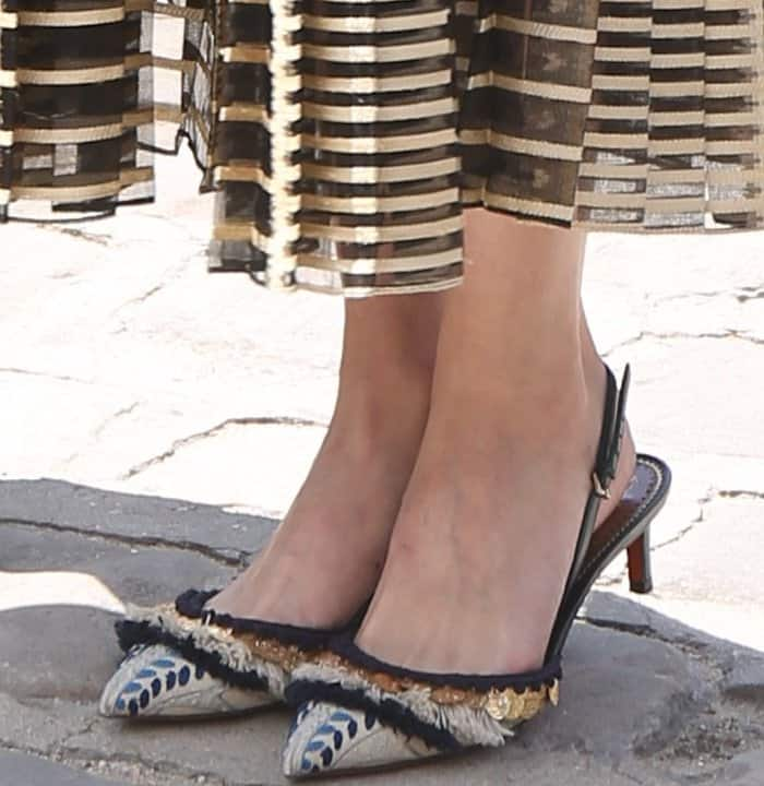 Olivia Palermo wearing fringe-embellished slingback shoes at the Christian Dior Fall/Winter 2017 show during Paris Haute Couture Fashion Week