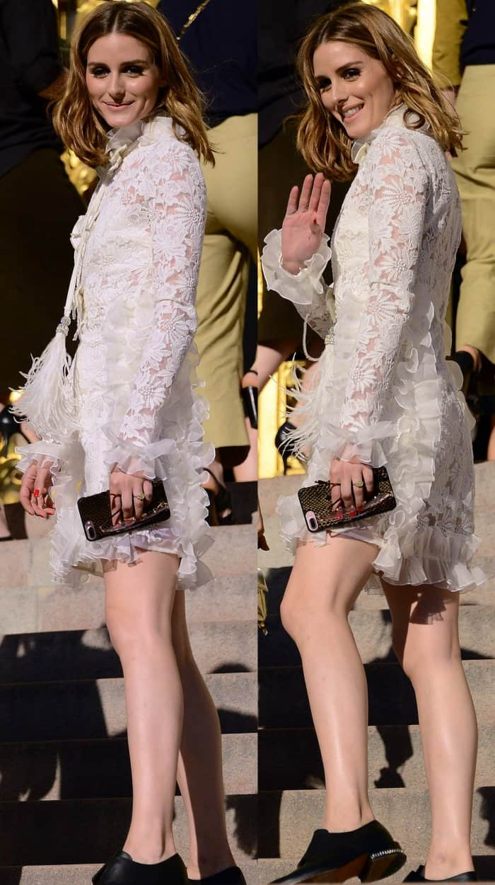 Olivia Palermo wearing a white guipure lace dress and Givenchy chain-trim brogues at the Giambattista Valli Fall/Wnter 2017 show during Paris Haute Couture Fashion Week