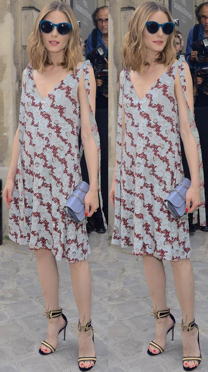 """Olivia Palermo wearing a Valentino printed dress and Gianvito Rossi """"Augusta"""" sandals at the Valentino Fall/Winter 2017 show during Paris Haute Couture Fashion Week"""