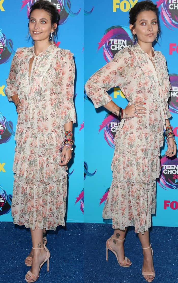Paris Jackson wearing a floral Zimmermann dress and Elisabetta Franchi velvet sandals at the 2017 Teen Choice Awards