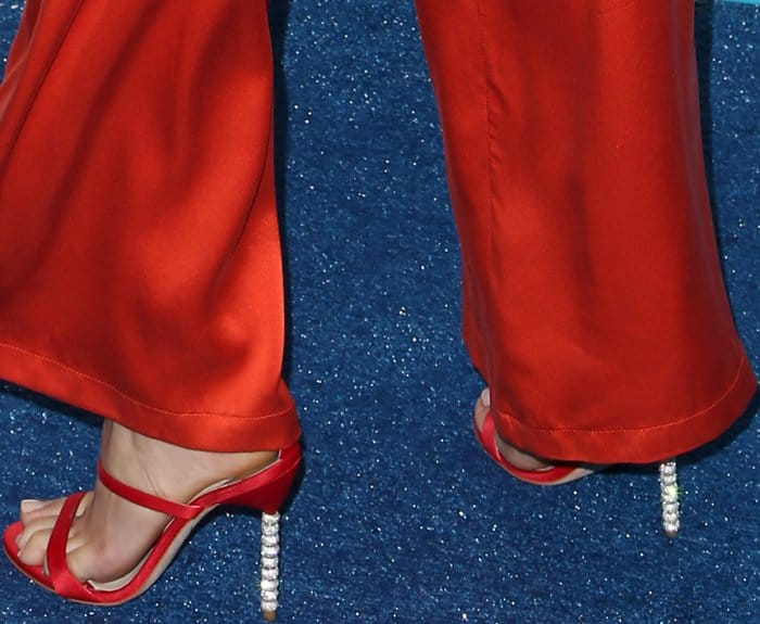 """Peyton List wearing Sophia Webster """"Rosalind Crystal"""" sandals in red satin at the 2017 Teen Choice Awards"""