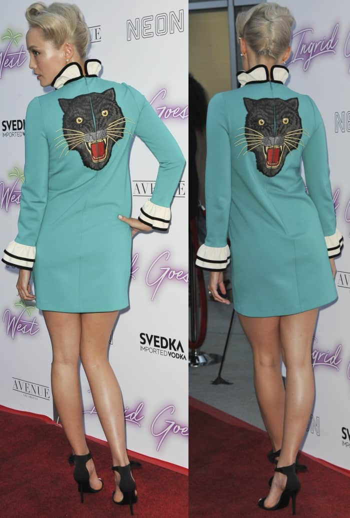"Pom Klementieff wearing Stella Luna heels and showing off the black cat embroidery on her Gucci Pre-Fall 2017 dress at the premiere of ""Ingrid Goes West"""