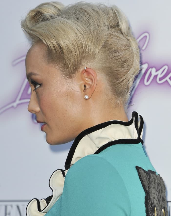 "Pom Klementieff rocking a pompadour at the premiere of ""Ingrid Goes West"""
