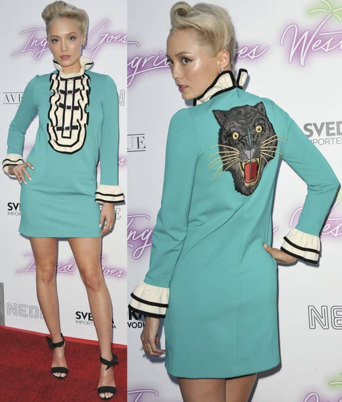 "Pom Klementieff wearing a Gucci Pre-Fall 2017 dress and Stella Luna knot-detail sandals at the ""Ingrid Goes West"" LA premiere"