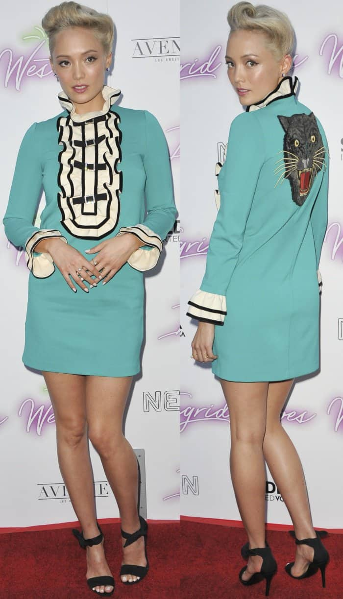 "Pom Klementieff wearing a turquoise dress from Gucci and knot-detail sandals from Stella Luna at the ""Ingrid Goes West"" premiere"