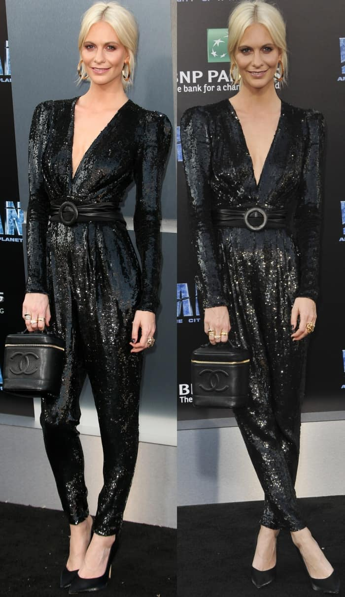 "Poppy Delevingne wearing a Zuhair Murad Pre-Fall 2017 jumpsuit and Giuseppe Zanotti black silk pointy-toe pumps at the LA premiere of ""Valerian and the City of a Thousand Planets"""
