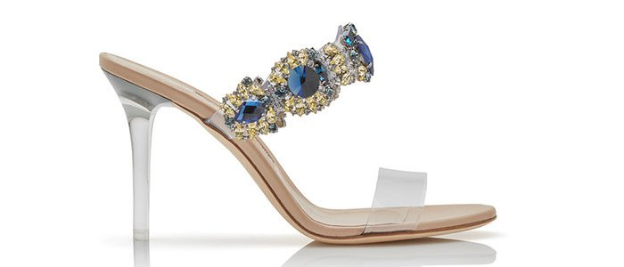 "Rihanna x Manolo Blahnik ""Bajan Princess"" blue crystal and PVC detail high-heel mules"