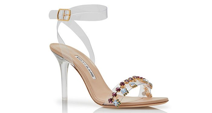 "Rihanna x Manolo Blahnik ""Purple Chalice"" crystal and PVC detail ankle-strap sandals"