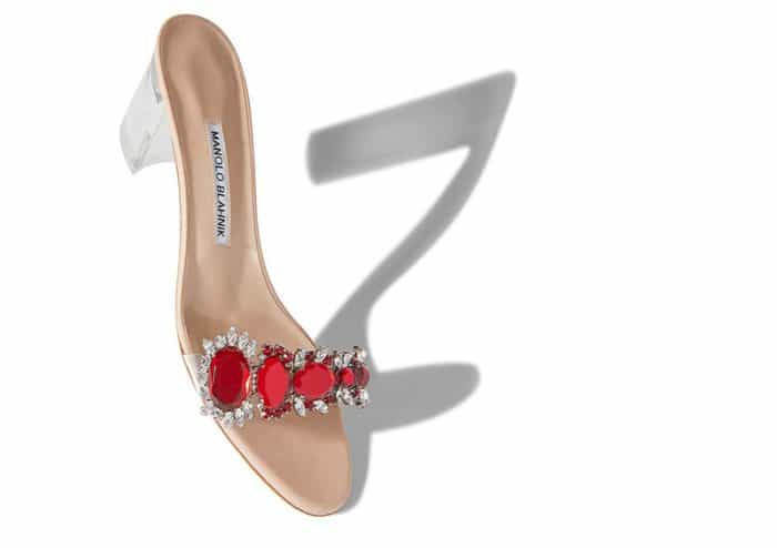 "Rihanna x Manolo Blahnik ""Spice"" red crystal and PVC detail mid-heel mules"
