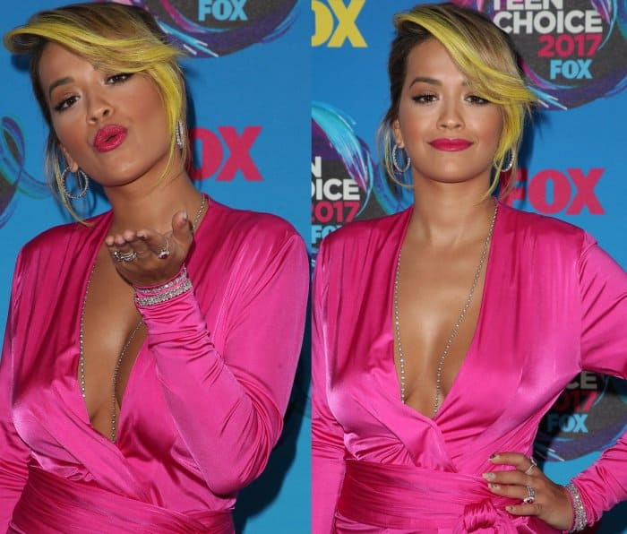 Rita Ora wearing a hot pink Alexandre Vauthier gown at the 2017 Teen Choice Awards