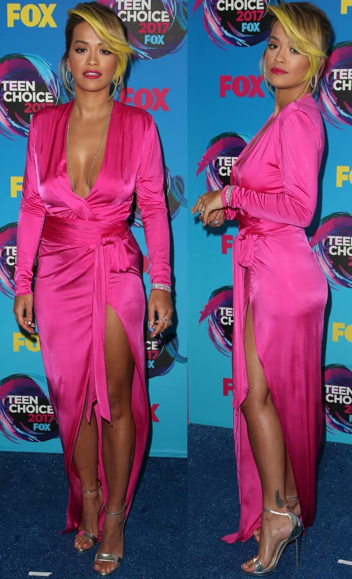 Rita Ora wearing a hot pink Alexandre Vauthier gown with Jimmy Choo sandals at the 2017 Teen Choice Awards