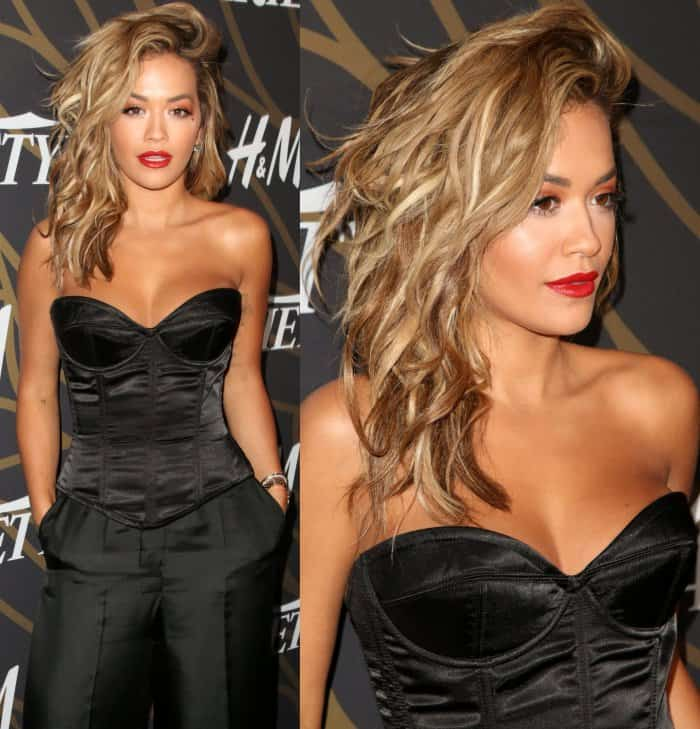 Rita Ora wearing an all-black ensemble at Variety's Power of Young Hollywood event