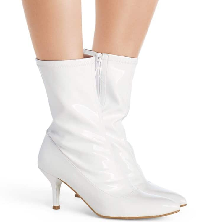 "Stuart Weitzman ""Clingy"" booties in snow white patent leather"